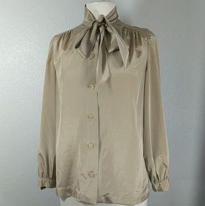 Beige Silk dress button up blouse w bow neck tie
